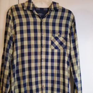 Pull & Bear yellow and blue plaid button down